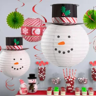 Snowman Theme Holiday Decorating Ideas   Party City   Party City Adorable Snowman Ceiling Decor Idea