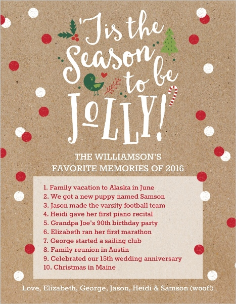Holiday Family Christmas Letter Ideas
