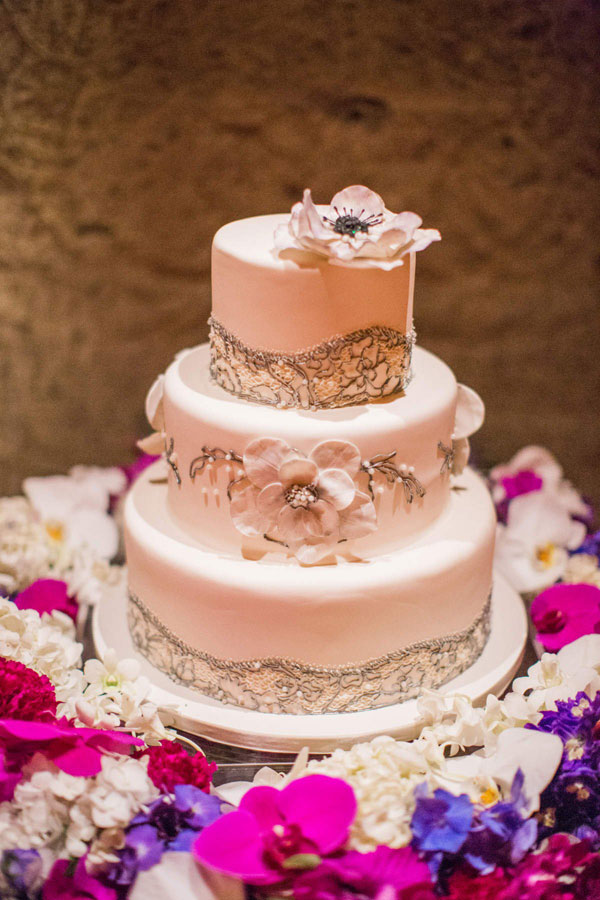 Wedding Wednesdays Q A  How Much Do Wedding Cakes Cost  White and silver lace fondant wedding cake for a Calistoga wine cave  destination wedding by Destination