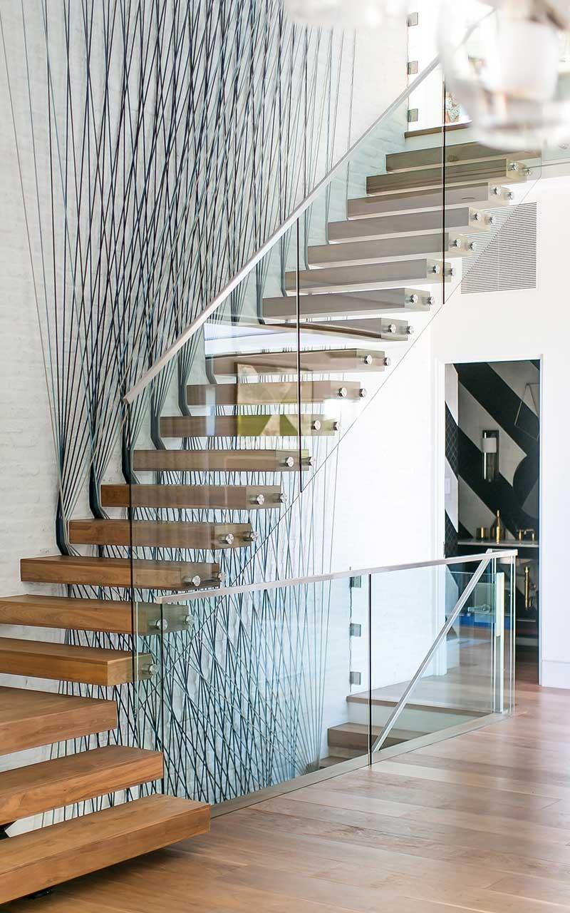 Port Street Mid Century Modern Stairs Interior Patterson Custom | Mid Century Stair Rail | Basement | Fixer Up | U Shape | Plywood | Hand