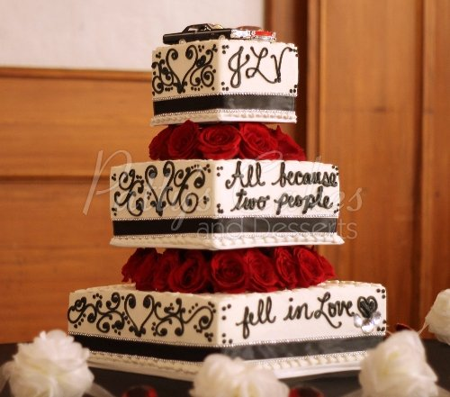 Red rose wedding cakes Archives   Patty s Cakes and Desserts wedding cake script back white red flowers