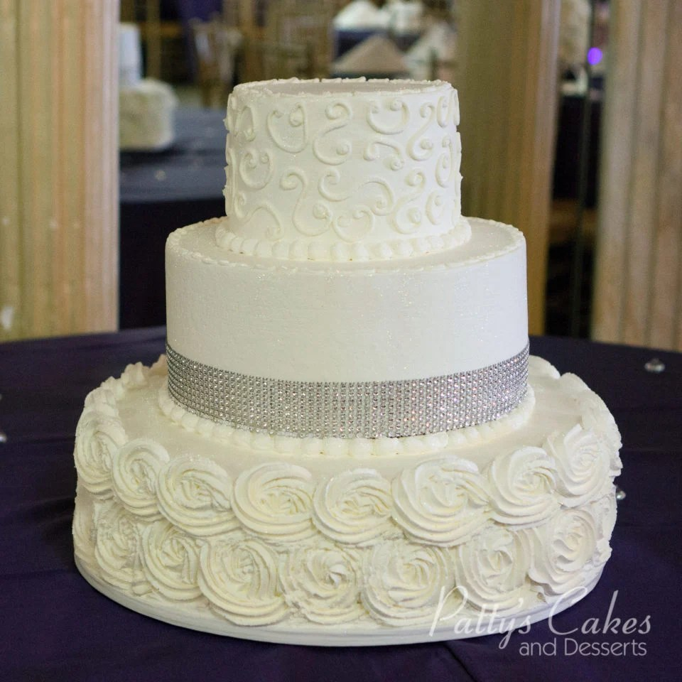 Photo of a rosette bling wedding cake   Patty s Cakes and Desserts Photo Gallery