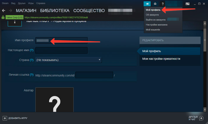 Making an invisible nickname in Steam