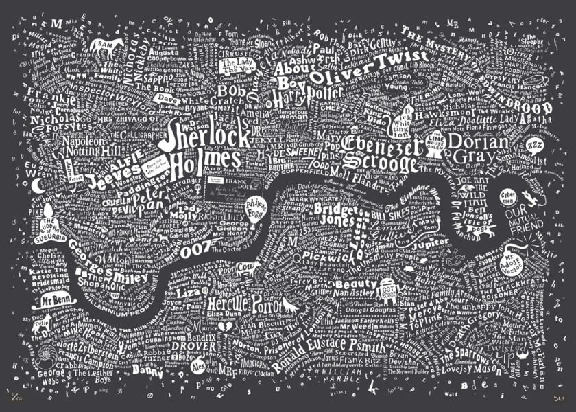 Literary London Map   Literary London Art Prints   Limited Edition     Literary London Map   Literary London Art Prints   Limited Edition Graphic  Art