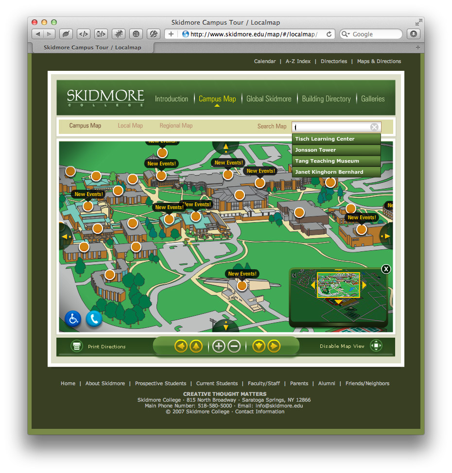 Campus Map College Skidmore