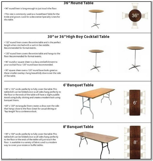 Foot Banquet Table 12 Dimensions
