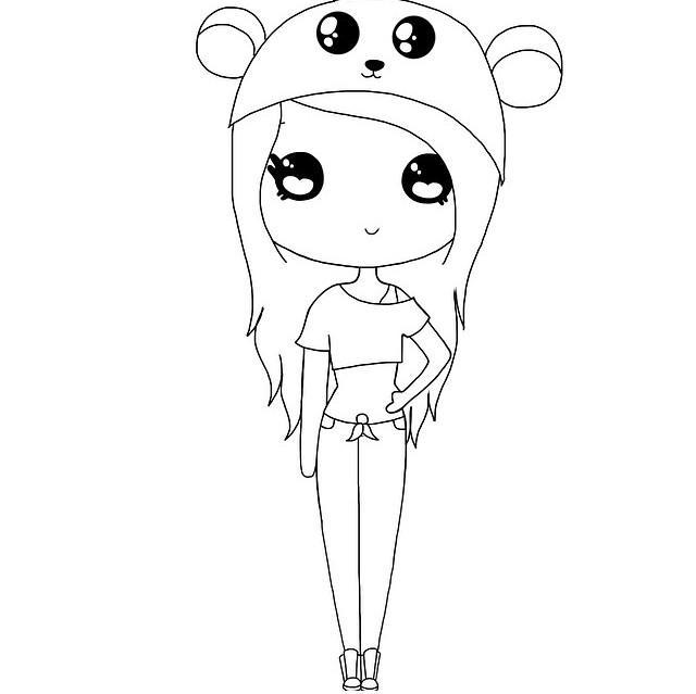 Crop White Top Girl Cute And Drawings Black