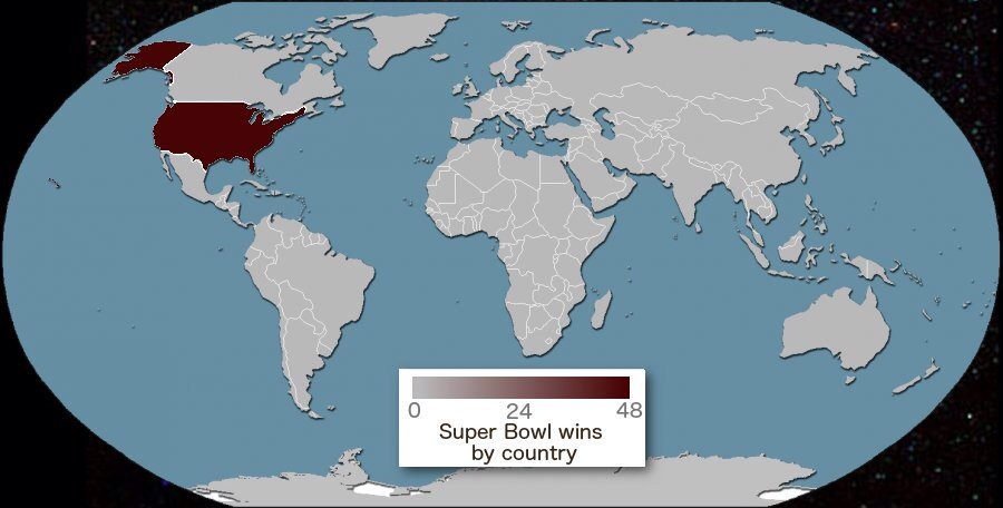 Terrible Maps on Twitter   Super Bowl wins by country