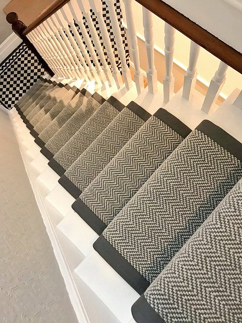 Woven Woods On Twitter Kudos To Our Chap Lee For This Stunning   Grey Herringbone Carpet Stairs   Living Room   Flat Weave   Hartley   Patterned   Modern