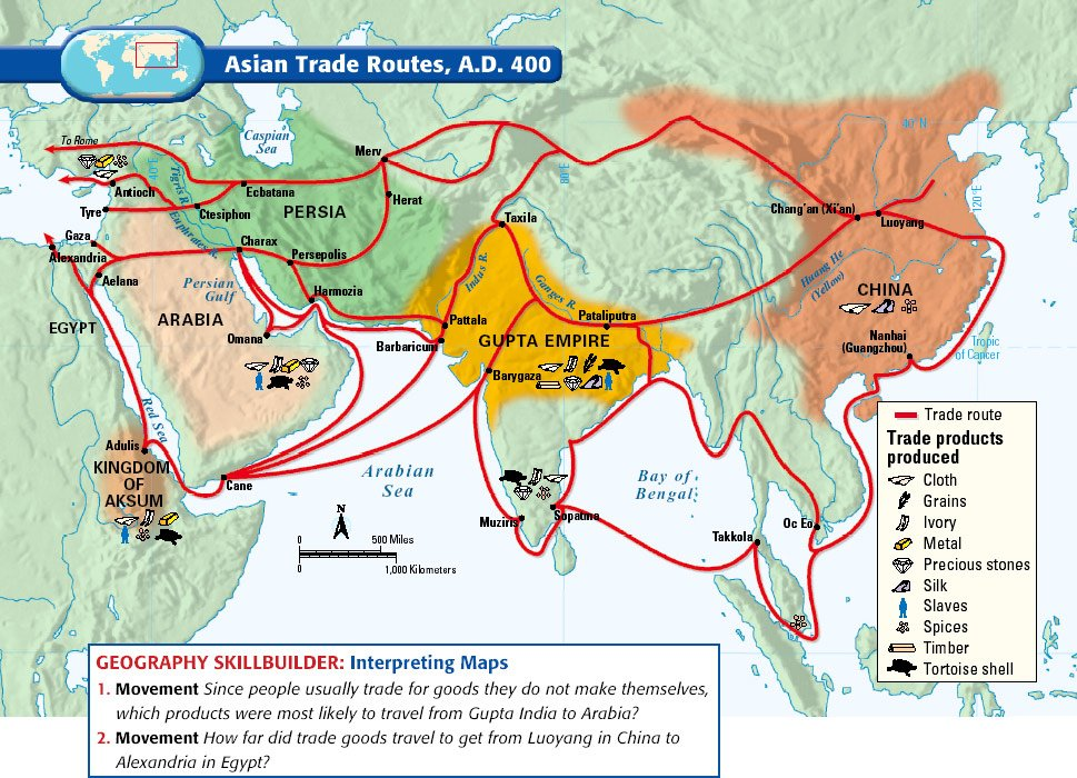 Map Trade Routes 1750
