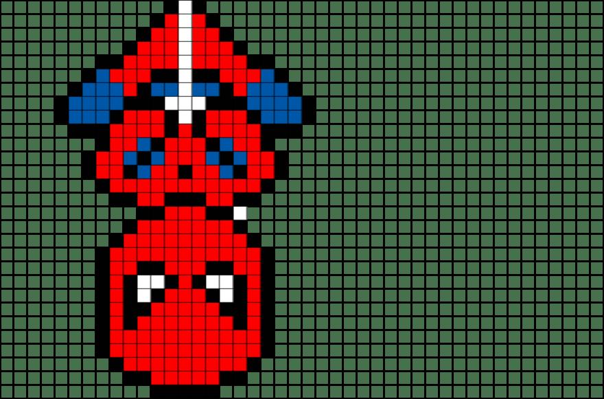 Iron Man Pixel Art Grid