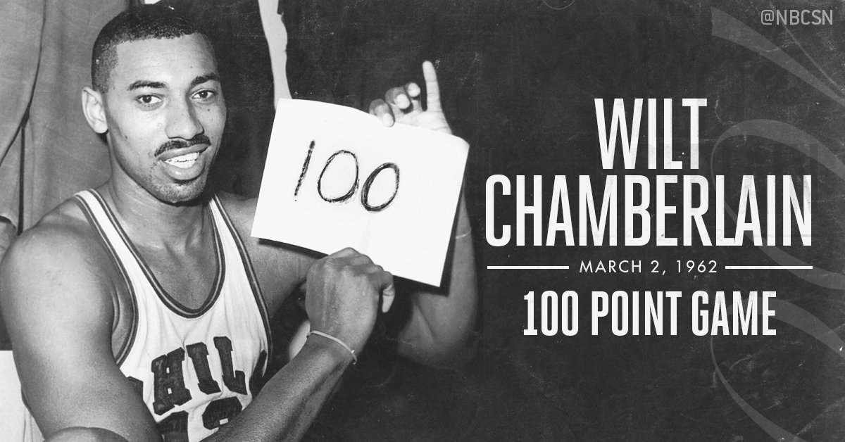 On this day in 1962, wilt chamberlain dropped 100 points ...