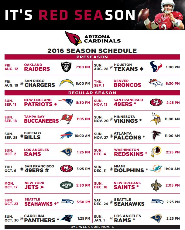 Download and print the #AZCardinals 2016 Schedule! bit.ly ...