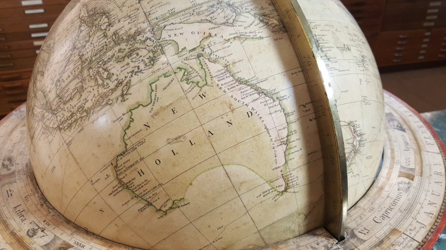 Vsauce on Twitter   I m filming in an amazing map store today  This     Vsauce on Twitter   I m filming in an amazing map store today  This globe  was made in 1799  Australia is called  New Holland