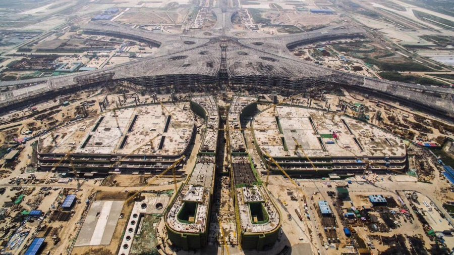 Kevin on Twitter   Beijing new airport main structure roof sealed     Kevin on Twitter   Beijing new airport main structure roof sealed today   Construction began in September 2015  EIS in 2019