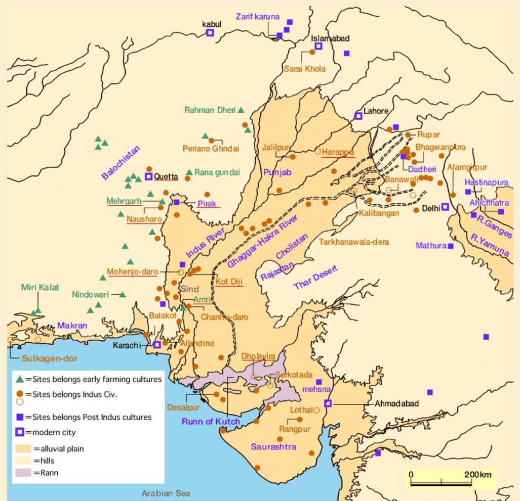 indus valley civilization map - 800×805