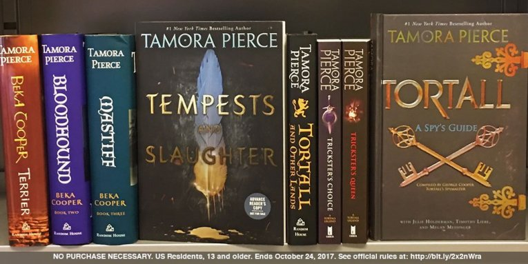 Tamora Pierce on Twitter   YES  You could win an ARC of TEMPESTS     Tamora Pierce on Twitter   YES  You could win an ARC of TEMPESTS    SLAUGHTER  To enter  tweet a photo of your bookshelf   include   PierceYourBookshelf