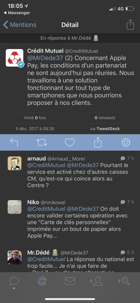 Cr    dit Mutuel on Twitter    2  Concernant Apple Pay  les conditions     1 reply 0 retweets 1 like