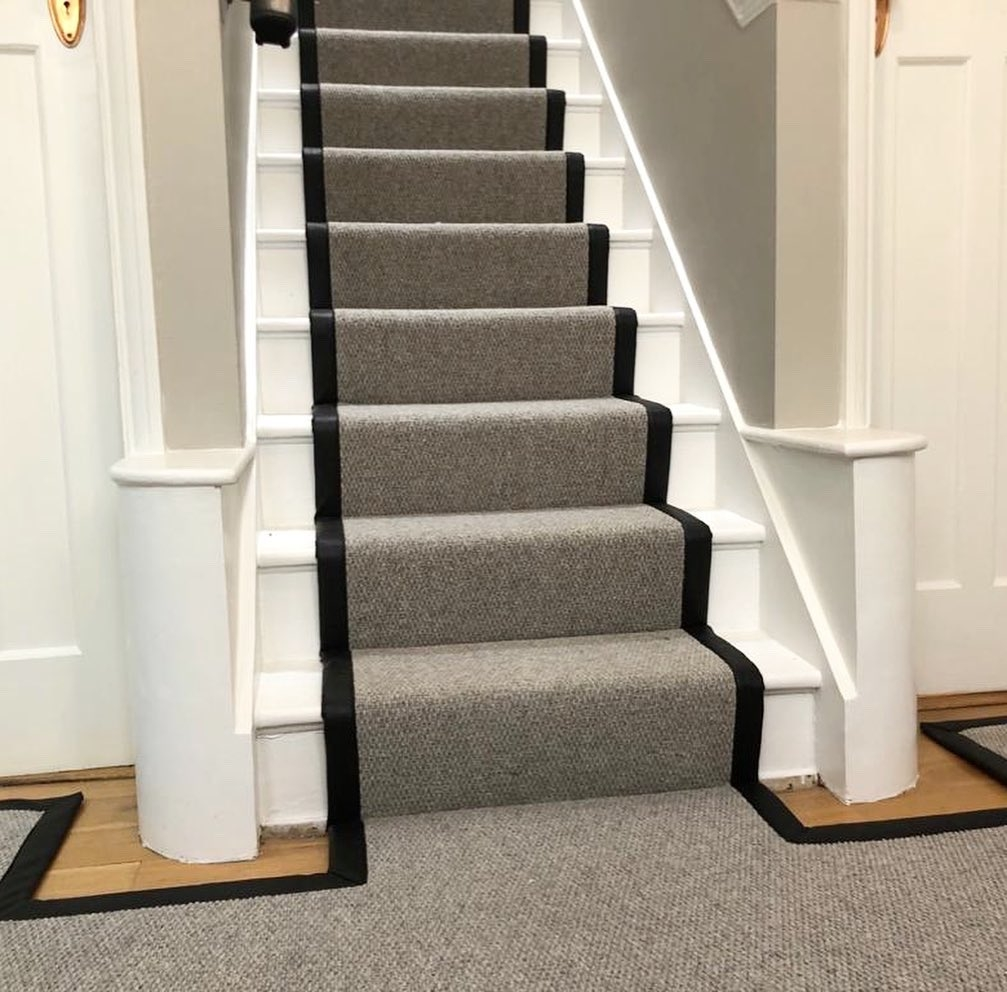 Woven Woods On Twitter Pre Lockdown This Lovely Faux | Hall Stairs And Landing Carpet | Stair Landing 1028 1028 | Staircase | Grey | White | Pinstripe Grey