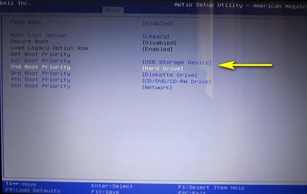 Configura il BIOS da scaricare da un'unità flash