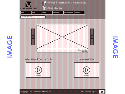 Joe Adamczyk   Web Design     UI Wireframe for a Level 5 Games Website