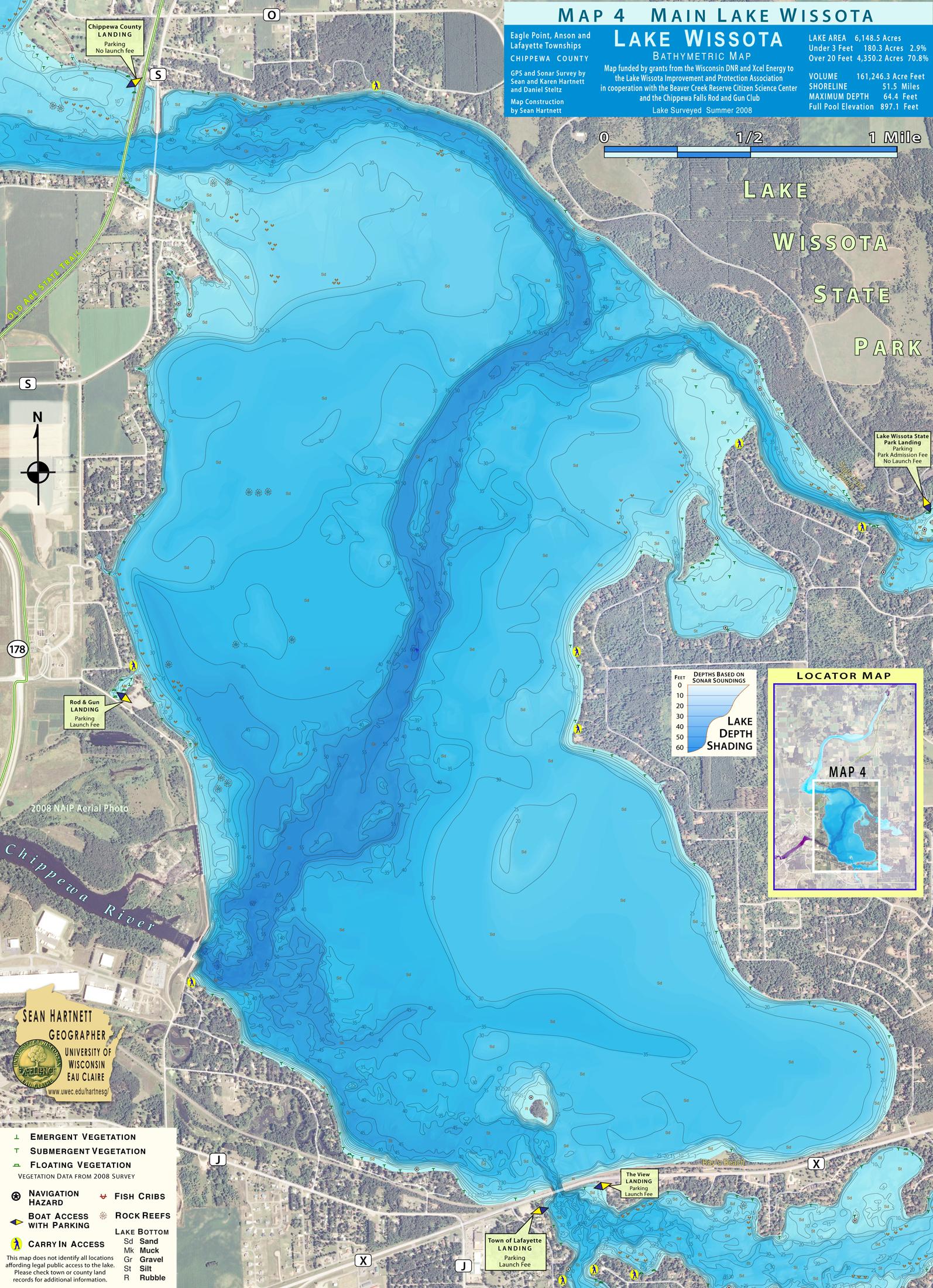 Lake Wissota Bathymetric Map