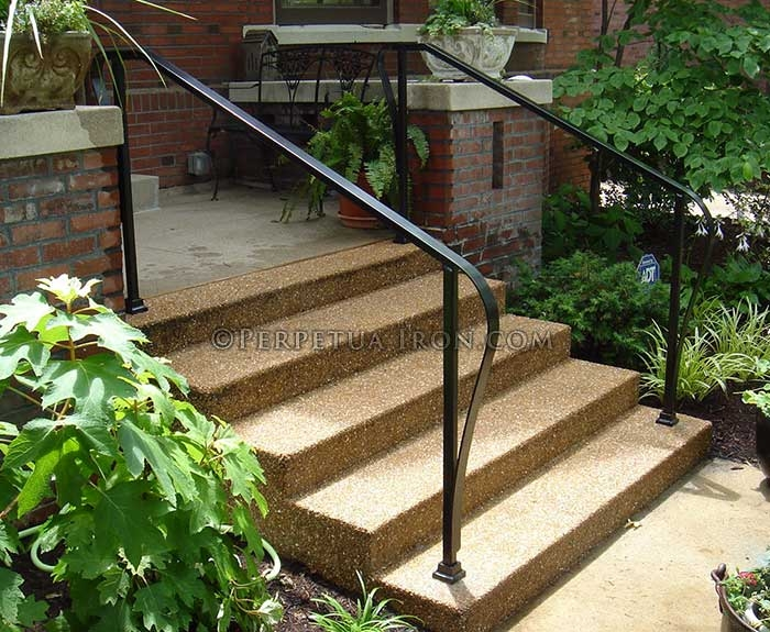 Perpetua Iron Simple Railing Page 2 | Iron Handrails For Outside Steps | Aluminum Railing | Railing Systems | Deck Railing | Front Porch