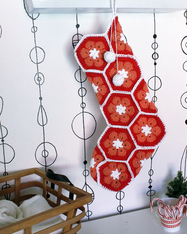 African Flower Christmas Stocking - free pattern using African Flower hexagons