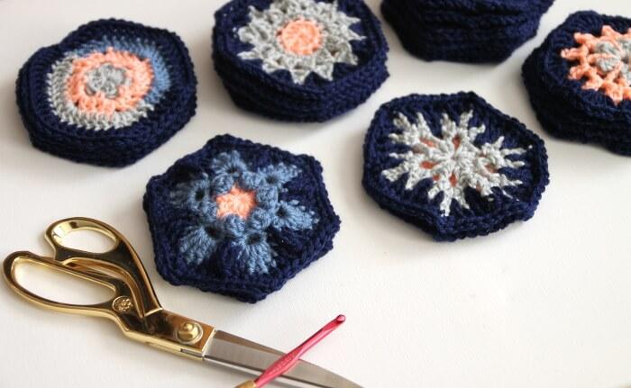 heart shaped crocheted hexagon pillow pattern