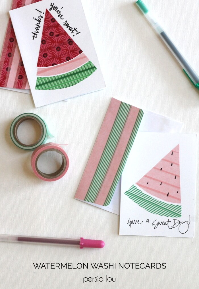 Make your own cute watermelon notecards using washi tape. Super simple and fun!