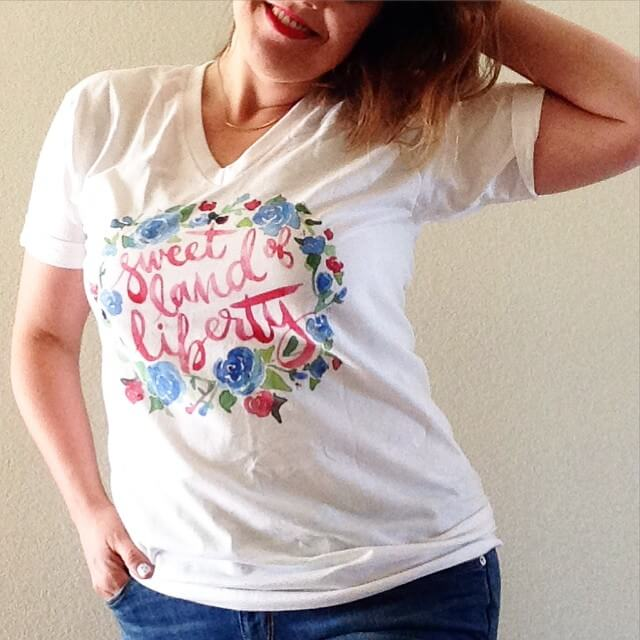 sweet land of liberty watercolor t-shirt design for the fourth of july