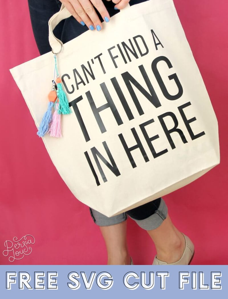 """canvas tote bag that reads """"i can't find a thing in here"""" with colorful tassels"""