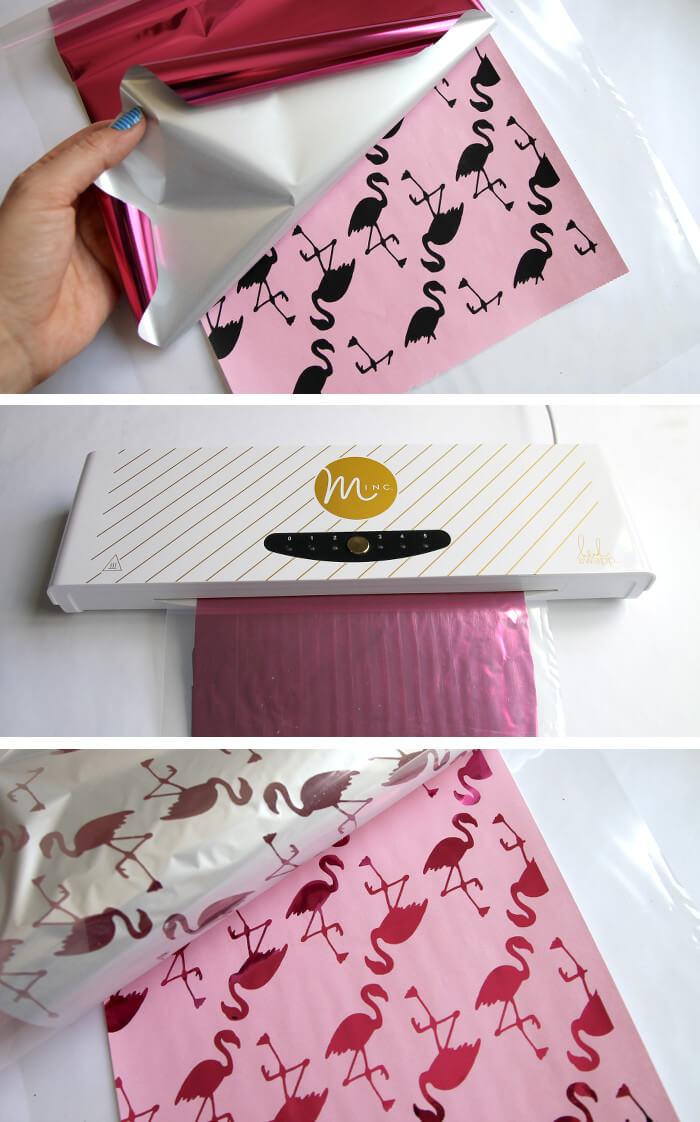 how to make metallic flamingo print wrapping paper. So fun!
