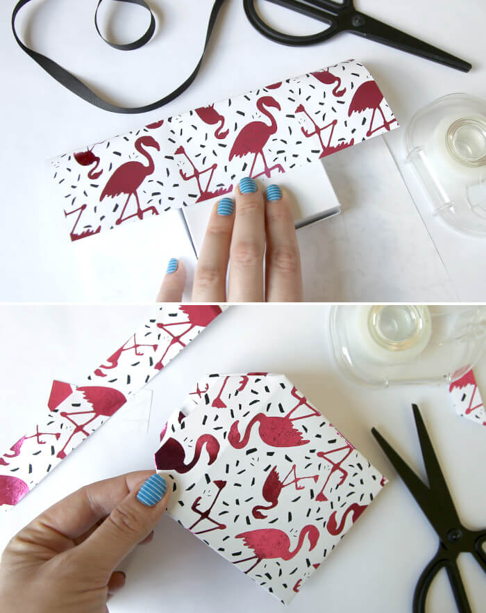 DIY Metallic Flamingo Wrapping Paper