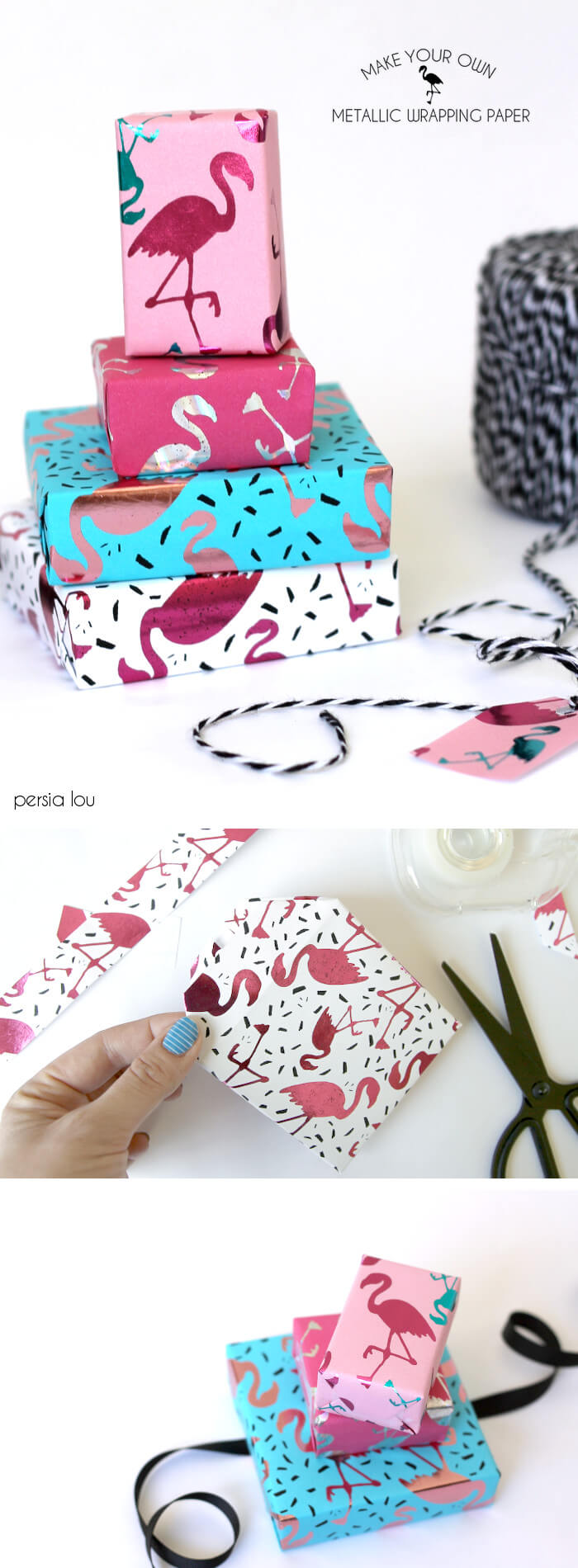 Make your own metallic flamingo wrapping paper! Free downloads.
