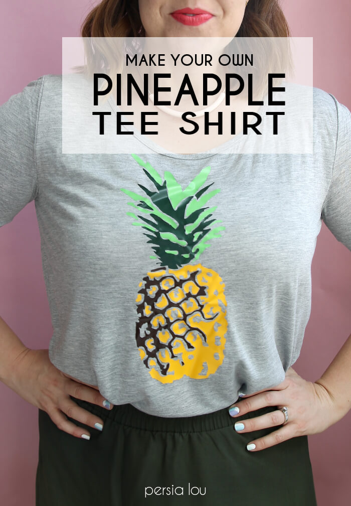 Make your own multi-colored pineapple t-shirt using heat transfer vinyl.
