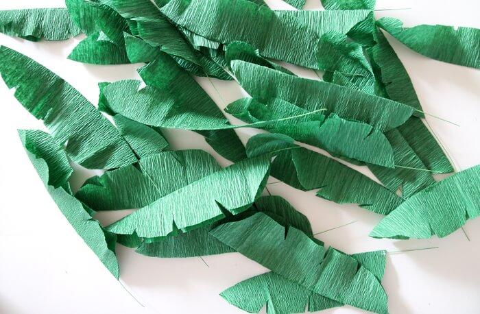 green crepe paper leaves