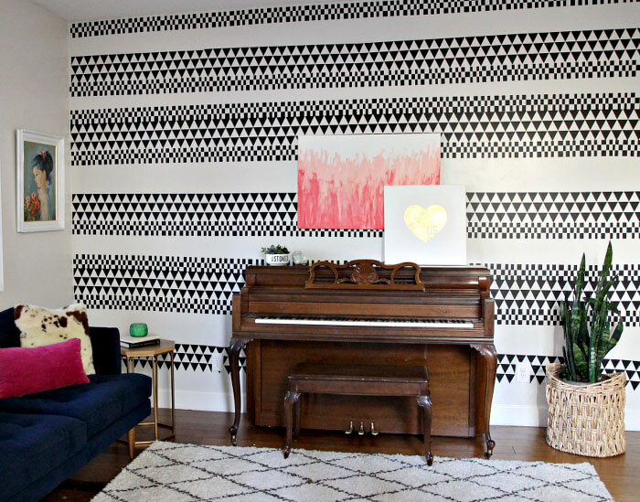 love this pattern! DIY geometric accent wall made using adhesive vinyl - great idea for renters