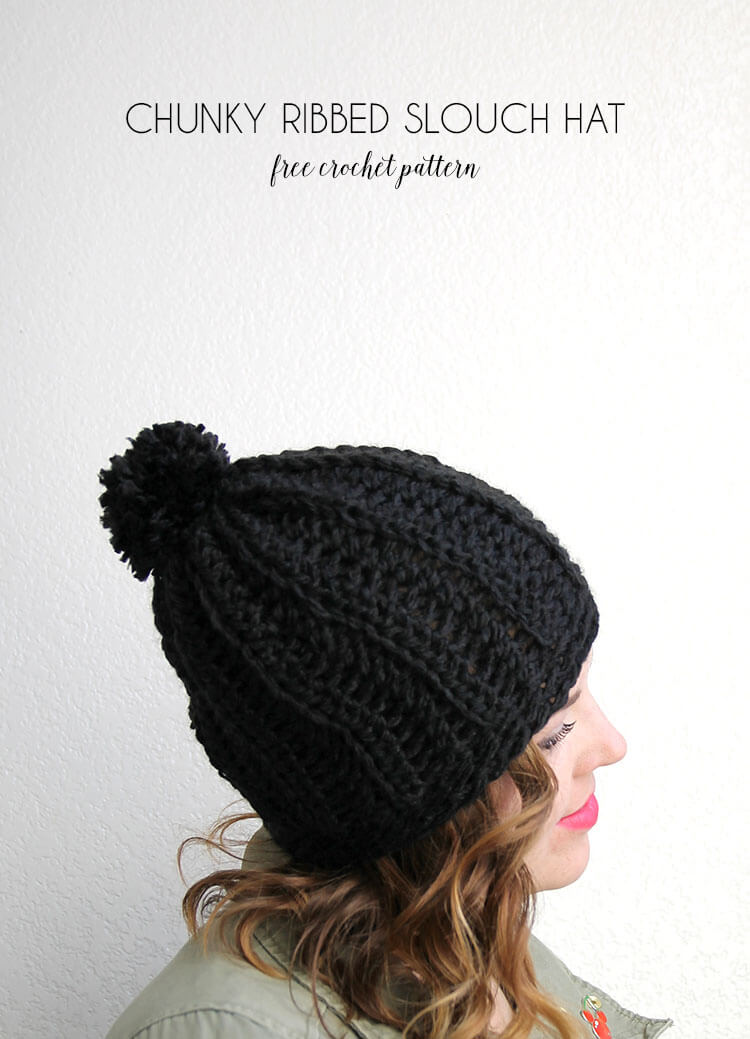 chunky ribbed slouch hat - free crochet pattern to make a cute chunky crochet hat