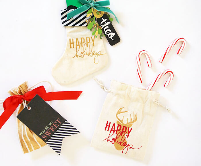 screen printed holiday gift bags and cards