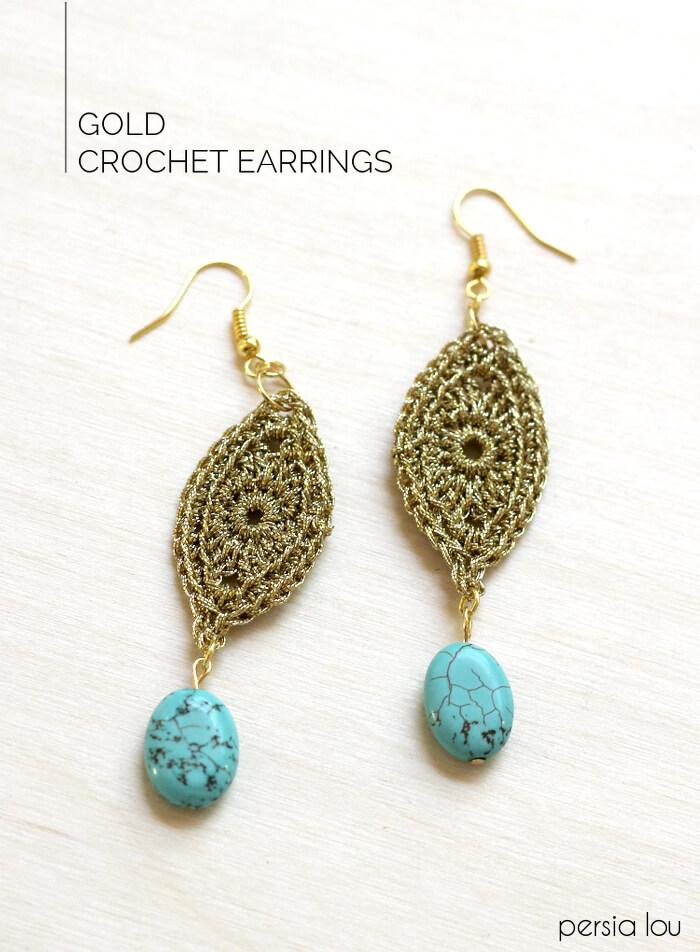gold crocheted earrings