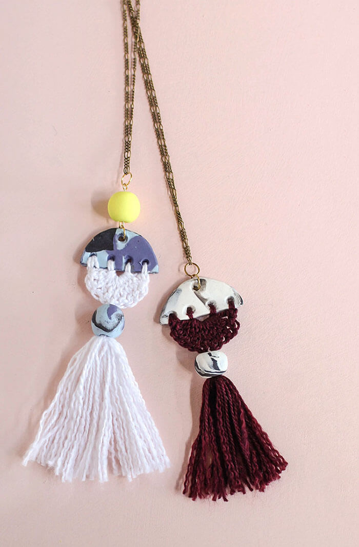 make your own modern tassel diy necklace - combine marbled clay with crocheted thread