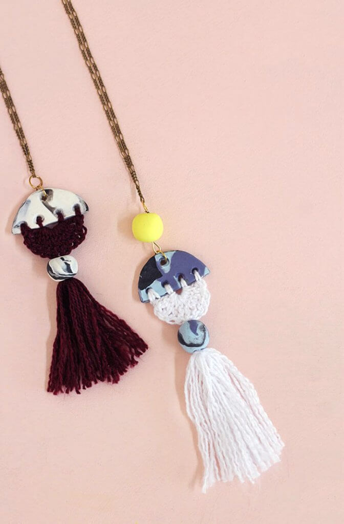 make your own modern tassel DIY necklace using clay and crochet