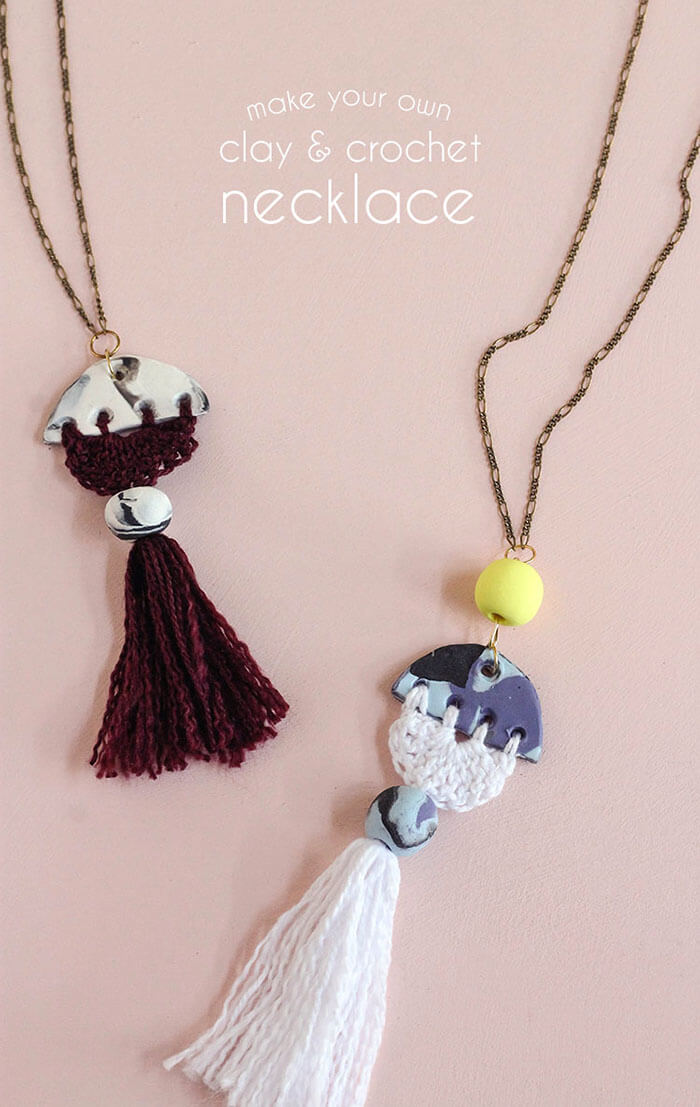 make your own modern tassel DIY necklace using clay and crochet - love the idea of combining clay and thread!