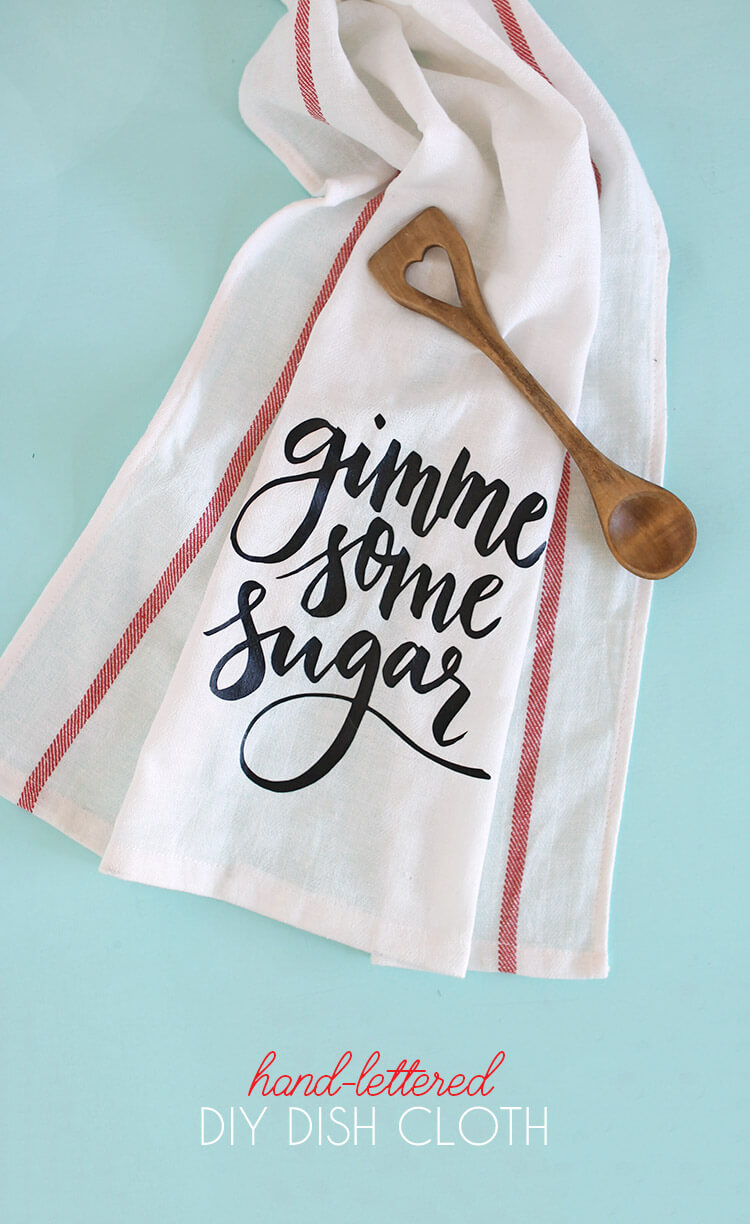 """DIY Dish Cloth Gift Idea - free svg and silhouette studio cut files - makes adorable """"gimme some sugar"""" baking-themed gifts"""