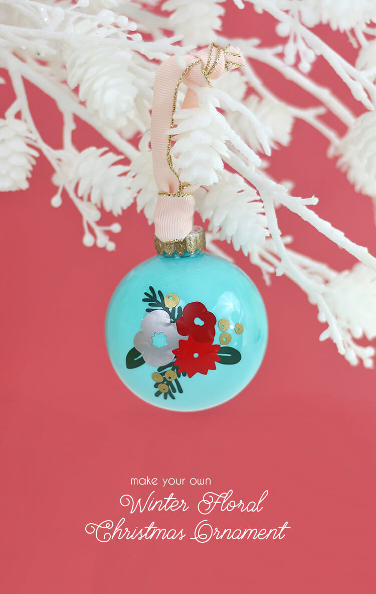DIY winter floral ornament - make your own custom ornaments using vinyl decals cut with your silhouette or cricut
