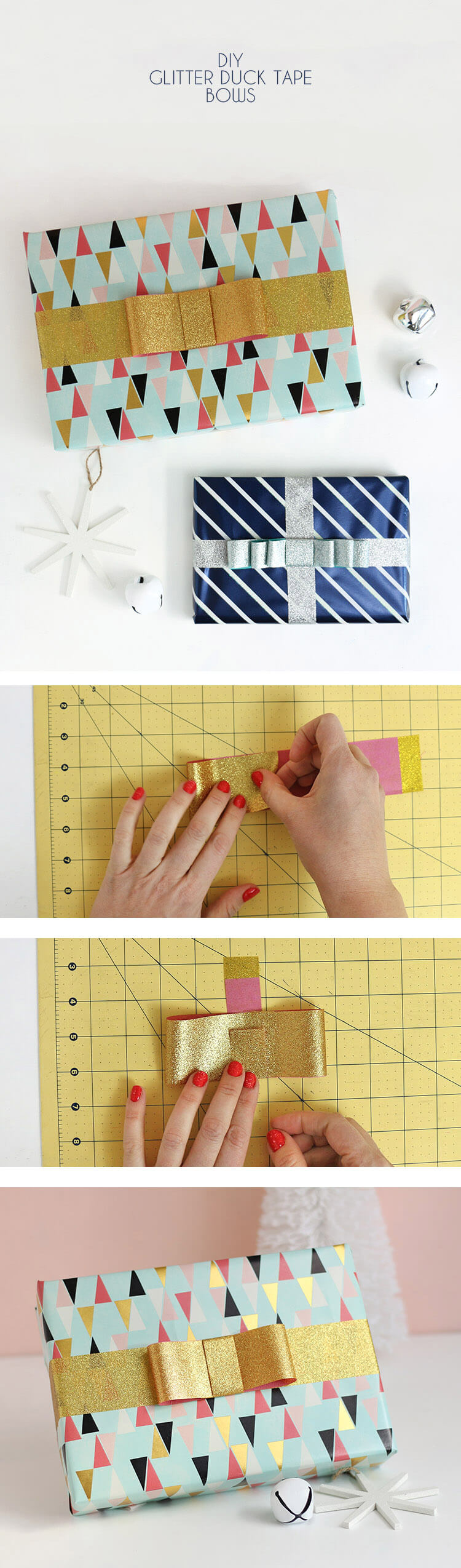 learn how to make DIY tape bows using glitter duck tape - so cute and easy to make!