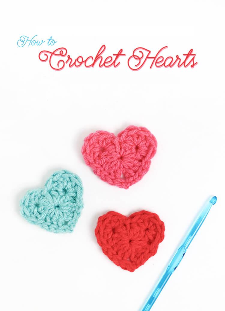 how to crochet hearts - simple crochet heart free pattern