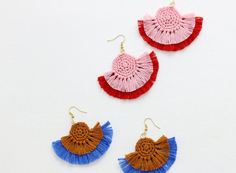 crochet fringe earrings