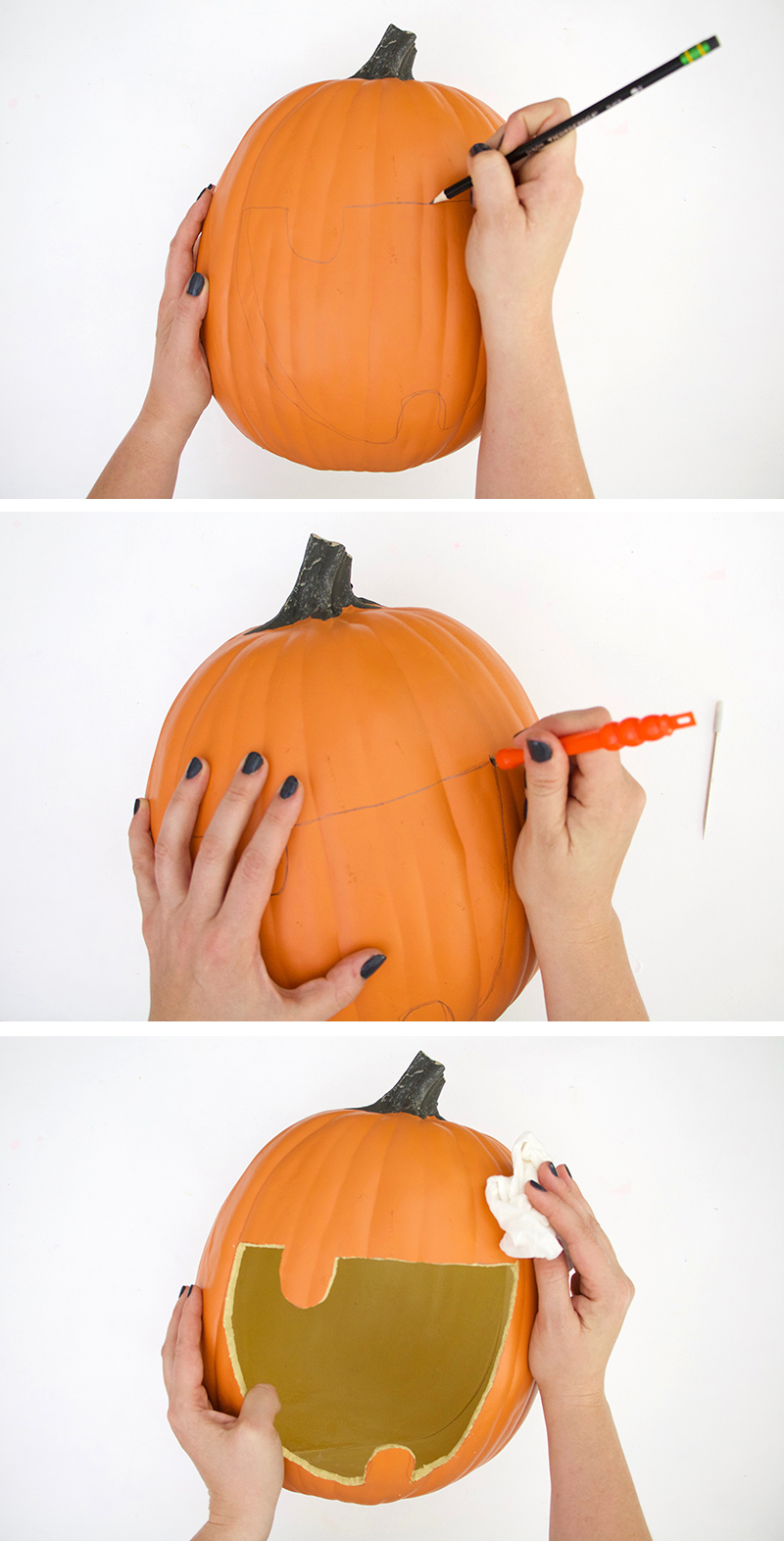 how to carve candy monster diy pumpkin candy dish